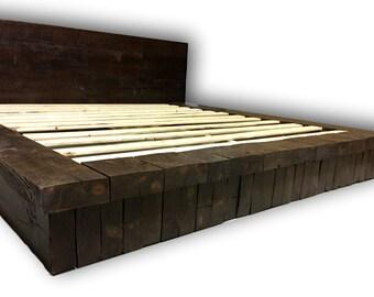 rustic platform bed. Reclaimed Wood Stack Platform Bed, Rustic Farm House Bed