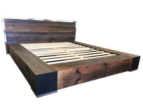 Industrial Bed Reclaimed Wood Bed Platform Bed Storage Bed Etsy