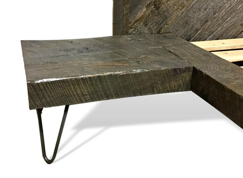 Floating Platform Bed Reclaimed wood herringbone headboard contemporary bed side tables on Hairpin Legs platform bed