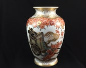 Gold Imari VASE flowers with cart giftware cream gold peach burgundy black turquoise gift home decor floral arrangement free shipping (3452)