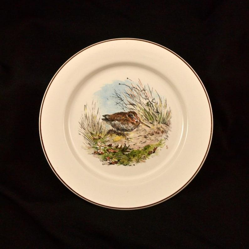 Villeroy /& Boch Fontainebleau #5 Woodcock duck hunting animal scene SALAD PLATE 1980s dinnerware dining tableware 2504