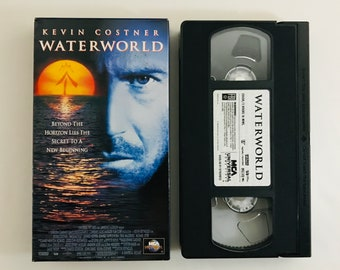 Waterworld, 1995 Kevin Costner, Dennis Hopper vintage VHS vcr tape vintage movie classic home video action adventure free shipping (7159)M