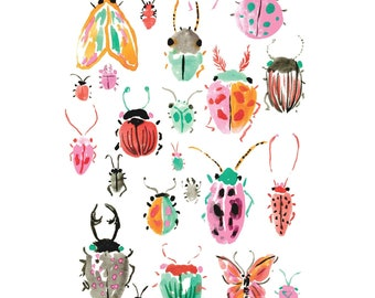Bug Print - Insect Print - Watercolor Bug Painting- Painted Bugs - Bugs - Insects - Colorful