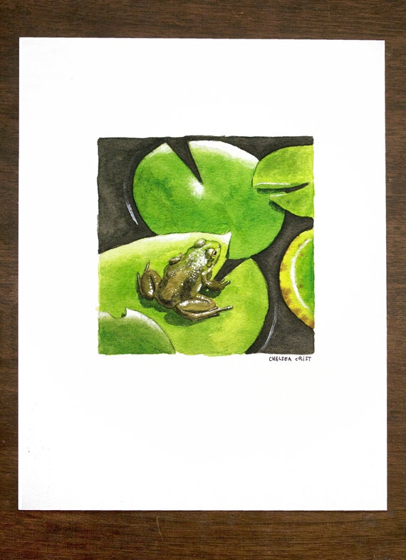 Colorful Lily Pads and Hidden Frogs Reduction Art Print