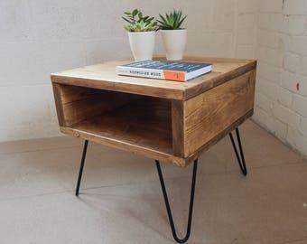 Bedside Table/Nightstand/ Side Table Coffee Table Rustic Industrial Urban Handmade Reclaimed Wood Metal Hairpin Legs
