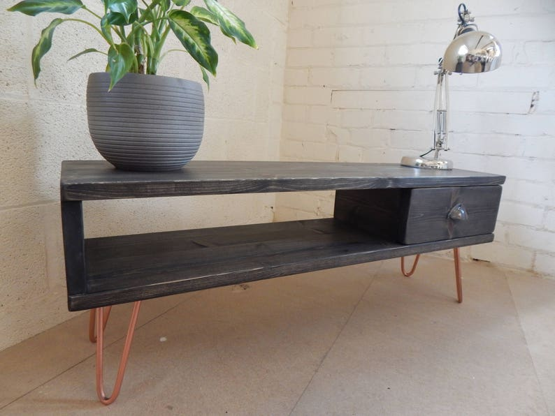 Handmade Rustic Tv Stand Tv Media Unit Reclaimed Wood Copper Etsy