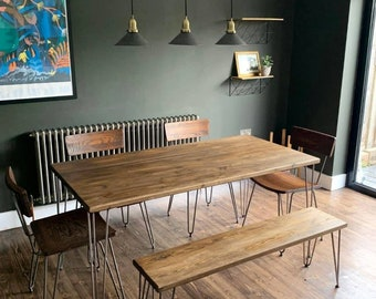 Dining Table & Bench Set, Rustic, Reclaimed, Hairpin Legs Fully Customised