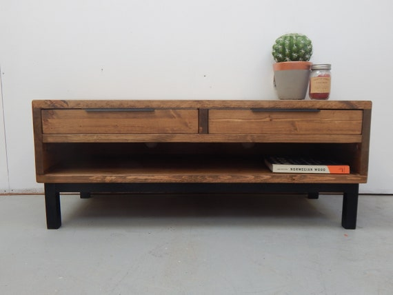 Groovy Tv Media Unit Tv Stand Coffee Table Reclaimed Wood Modern Rustic Industrial Solid Wood Handmade In The Uk Machost Co Dining Chair Design Ideas Machostcouk