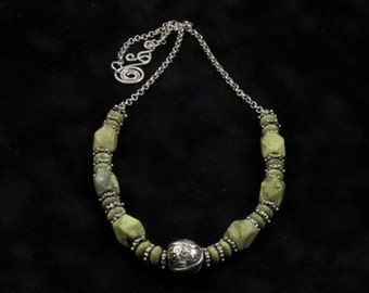 """Limelight-Handcrafted Fine Silver Rd. Textured Bead on a 25 1/2"""" Green Turquoise Beaded and SS Rolo Chain Necklace"""