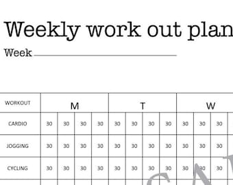 Weekly Work Out Plan Fitness A3 A4 Letter Printable