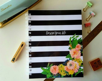 12 Month Weekly Planner * Personalized Planner * Choose Start Month * Student / Teacher Planner * Professional Planner * Black White Stripes