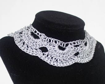 Antique Style Metallic Dark Silver Fiber Necklace