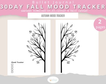 Leaf Mood Tracker Tree, 30 Days Fall Mood Tracker, Leaves Mood Tracker, Tree Mood Tracker, Autumn themed Mood Tacker, Mood Tracker Printable