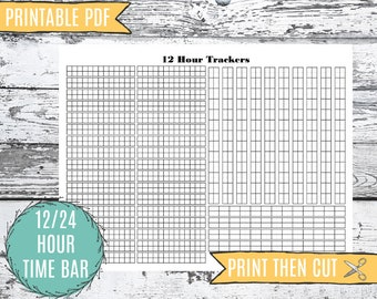 Time Tracker 24 Hour Printable   Month Hourly Time Organizer   Discbound Bullet Journal Planner Insert   12 Hour Printable   Time Tracker