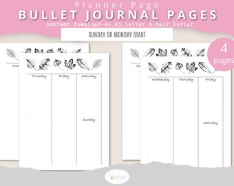 6 Column Weekly Bullet Journal Printable, Planner Spread, Undated Layout, Fall Leaves Printable, Bujo Templates, A4 A5 Letter & Half Letter