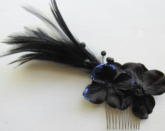 Black Feathered Hair Comb