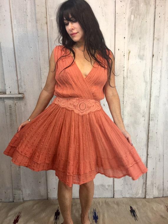 Vintage Gauze Cotton Dress// Flowy Greek mini Dre… - image 2