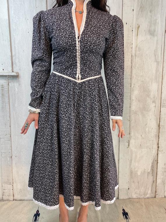 Gunne Sax Dress// Vintage Gunne Sax Blue Prairie … - image 9