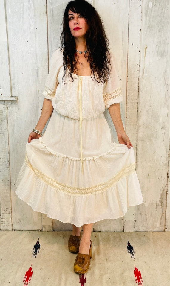 Vintage Gauze Cotton Dress/Flowy White Cotton Dres