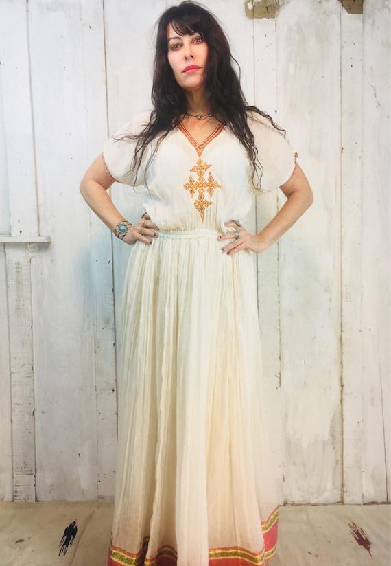 Vintage Indian Maxi Dress//Indian Cotton Dress// B