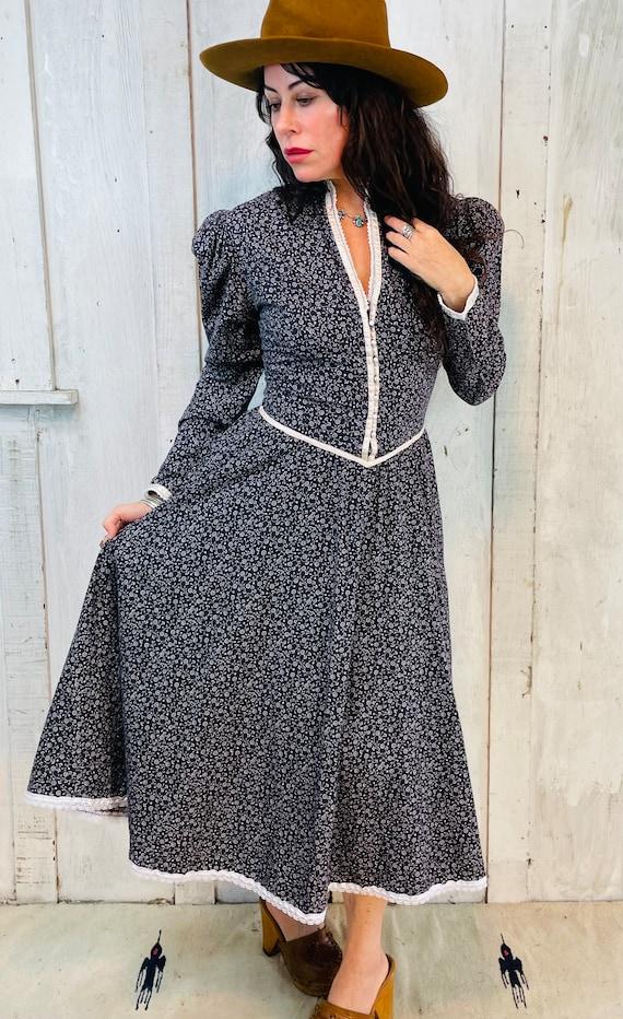 Gunne Sax Dress// Vintage Gunne Sax Blue Prairie … - image 6