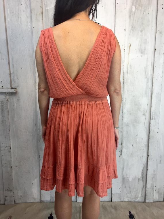 Vintage Gauze Cotton Dress// Flowy Greek mini Dre… - image 5