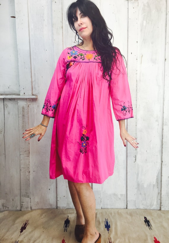 Vintage Mexican Dress // Mexican Embroidered Mini