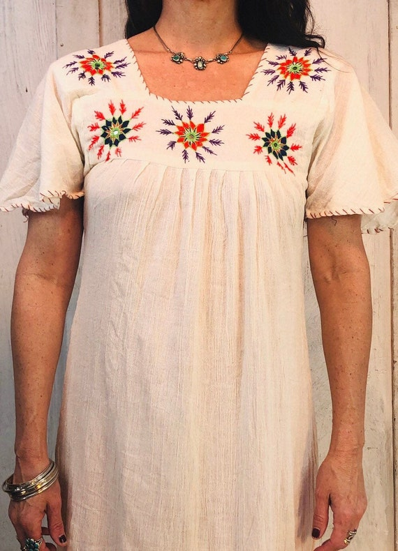 Vintage Indian Cotton Dress// Indian Gauze Cotton… - image 8