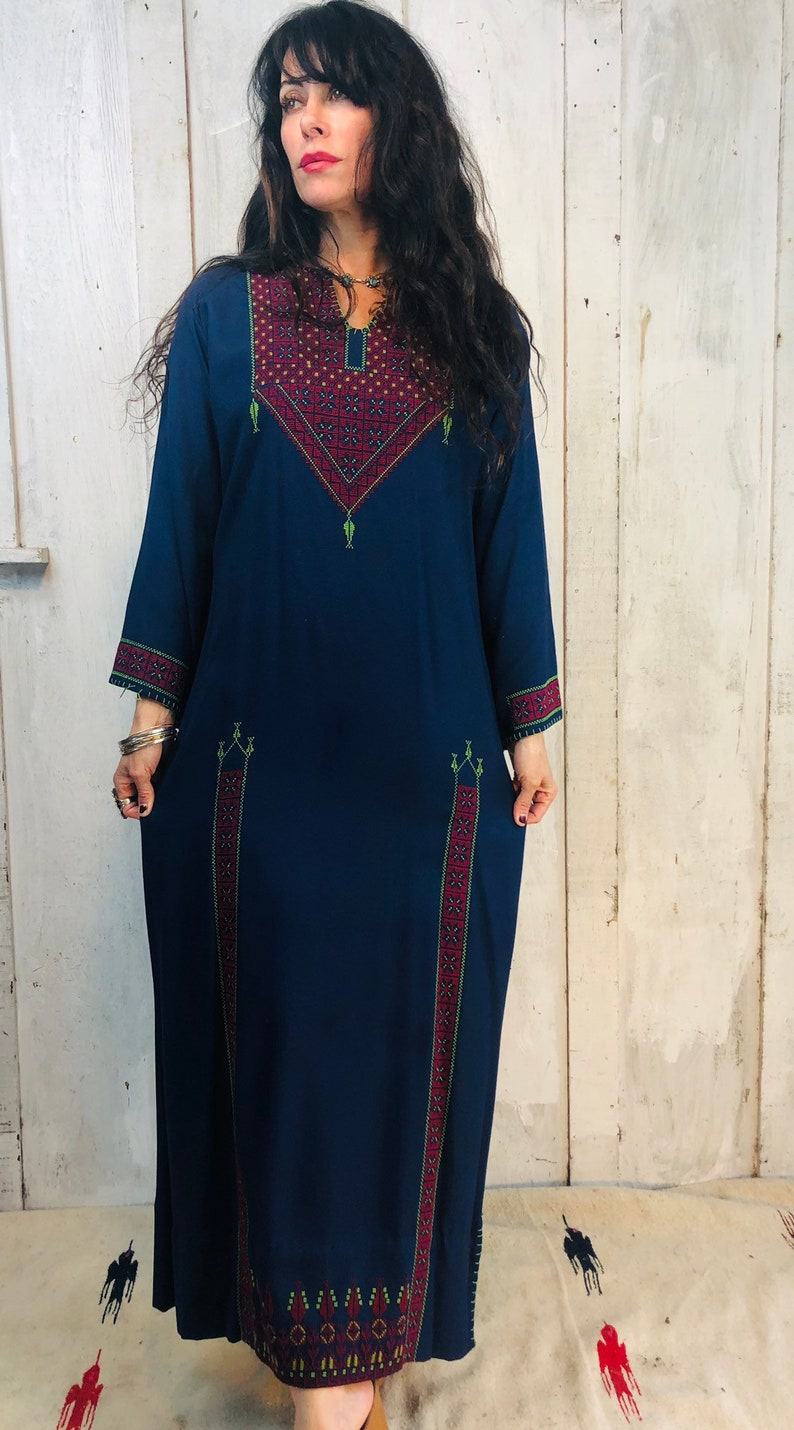 094b7e361 Vintage Indian Caftan/: 70s Embroidered Ethnic Kaftan// Navy | Etsy