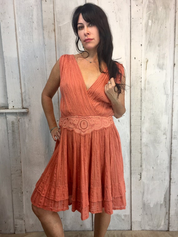 Vintage Gauze Cotton Dress// Flowy Greek mini Dres