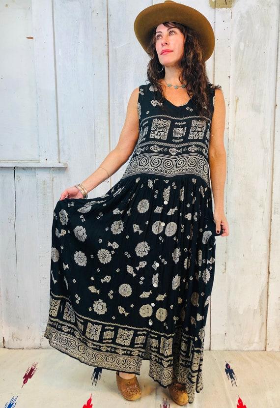 VIntage Bila Maxi Dress// Vintage Indian Rayon Dre