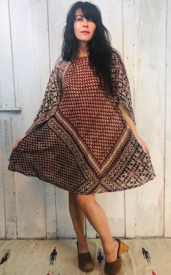Vintage Indian Cotton Dress// Indian Cotton Mini D