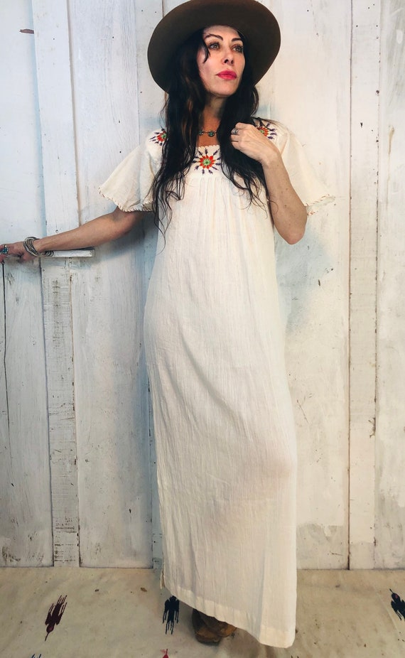 Vintage Indian Cotton Dress// Indian Gauze Cotton… - image 4