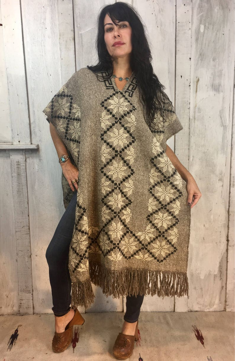 Vintage Handwoven PonchoMexican Wool PonchoFolk Art PonchoVintage Handmade Poncho