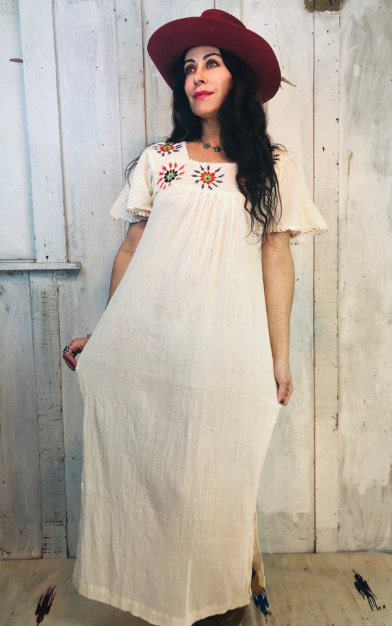 Vintage Indian Cotton Dress// Indian Gauze Cotton