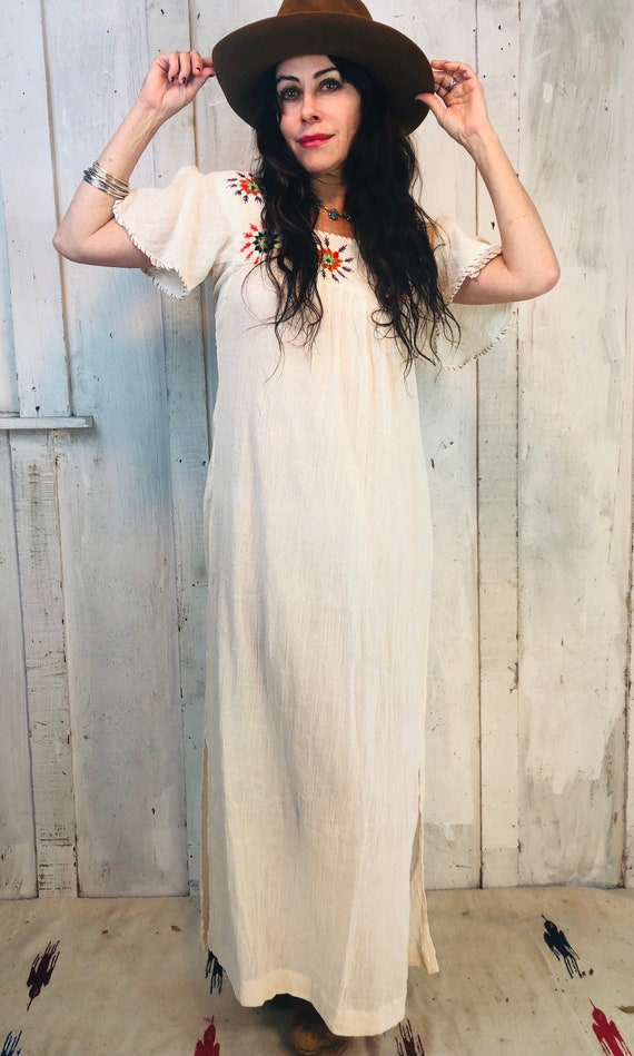 Vintage Indian Cotton Dress// Indian Gauze Cotton… - image 5