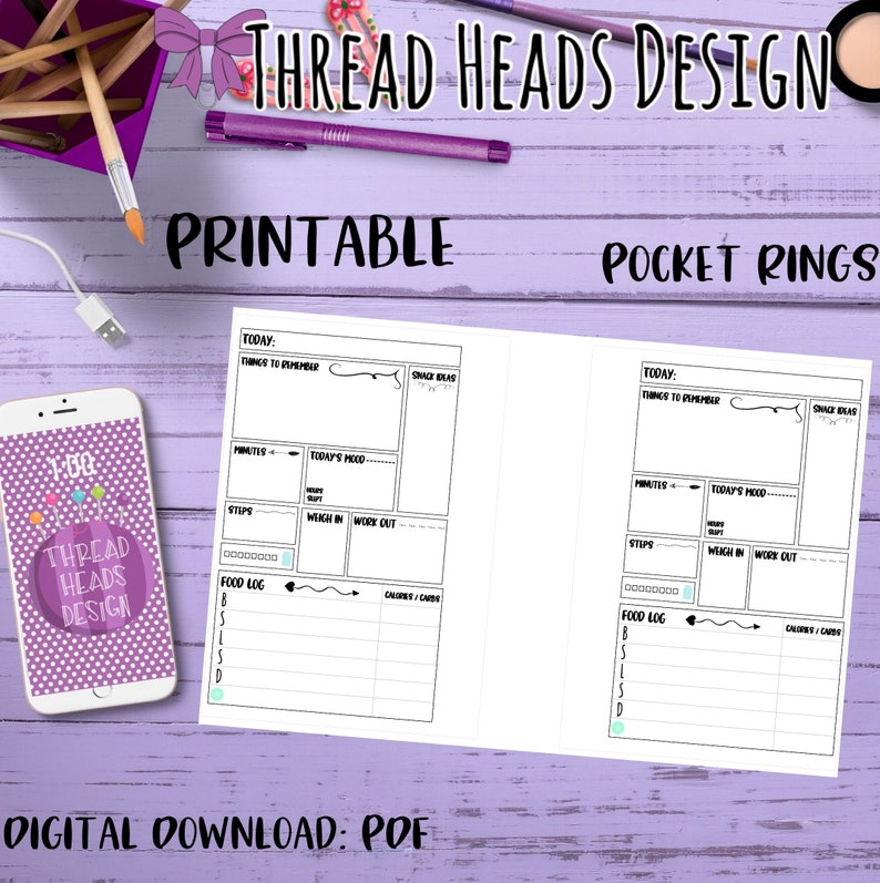 Printable Pocket Ring Planner Daily Fitness Inserts Instant Download Digital Item