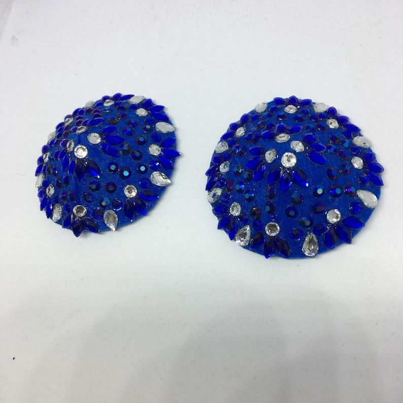 Royal Blue and Silver Rhinestone Pasties