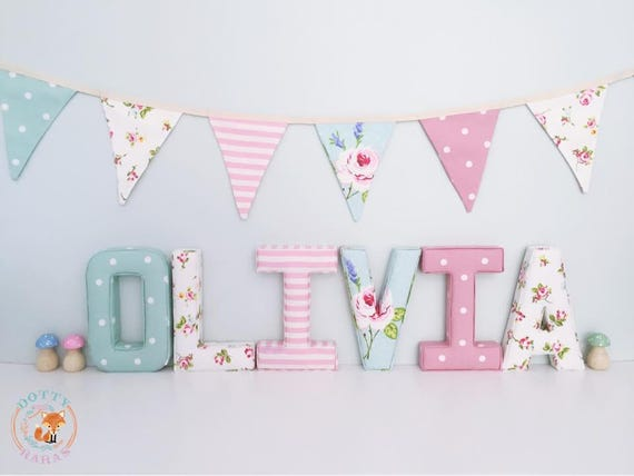 Fabric Letters, Handmade Fabric decorative letters, Wall Art, Nursery,  Childrens Bedroom, Boys, Girls Personalised fabric letters