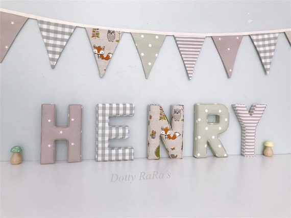 Fabric Letters, Handmade Fabric decorative letters, Wall Art, Nursery,  Childrens Bedroom, Boys, Girls, Personalised fabric letters