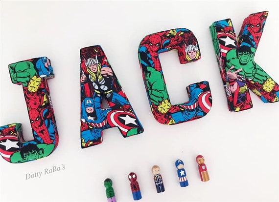 Superhero Fabric Letters, Wall Art, Nursery, Childrens Bedroom, Boys, Girls  Personalised fabric letters