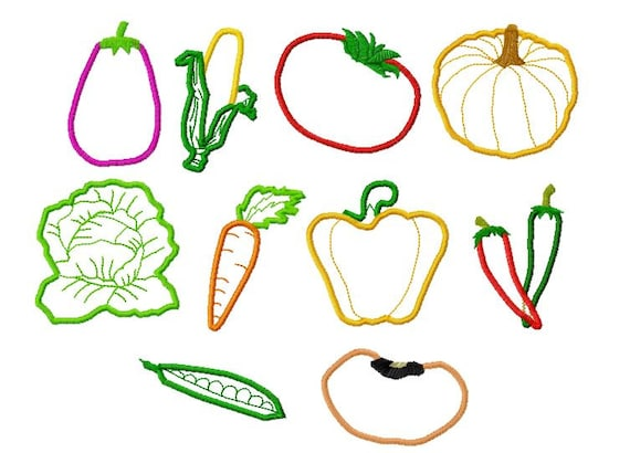 10 Designs Vegetables Applique Machine Embroidery Design Etsy