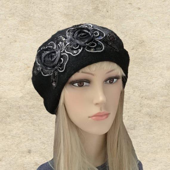 Fieltro del negro boina boina de las lanas de las mujeres  b790b38d120
