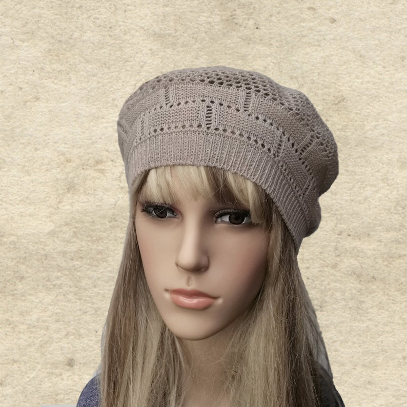 Cotton knitted beret Summer knit hat Women s knit beret  02204a7fc03