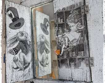Alice in Wonderland decor Alice in Wonderland wall mirror White rabbit  Wall decor