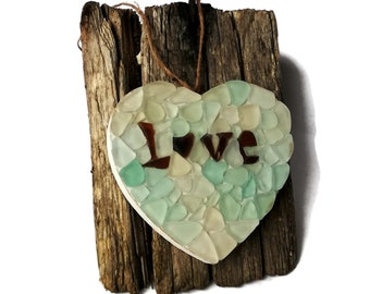 Sea glass decor Hearts sea glass mosac Valentines day gift Heart love gift Beach wedding signs LOVE