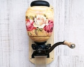 Wall mounted coffee grinder Coffee gift Wood ceramic coffee mill Vintage manual grinder Shabby Chic Decor