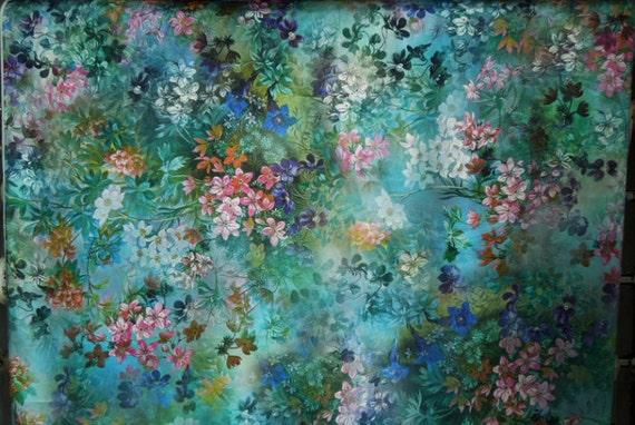 Tissu De Soie Stretch 42 Largeur Motif Fleur Soie Etsy