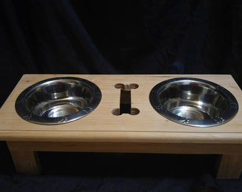 Dog feeding stand, Dog feeding station, Wooden Dog food stand, elevated dog feeding stand, dog food bowl stand, dog feeder, dog food