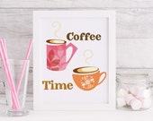 Coffee time midcentury style Digital Download midcentury printable, office decor, Coffee print, Coffee decor, coffee digital Download
